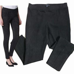 ANDREW MARC Black Faux Suede Pull On Skinny Pants